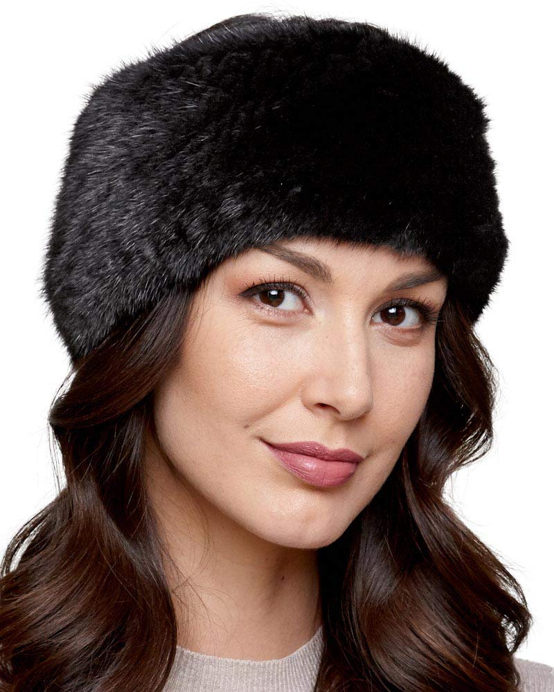 frr Extra Wide Knit Mink Fur Headband in Black