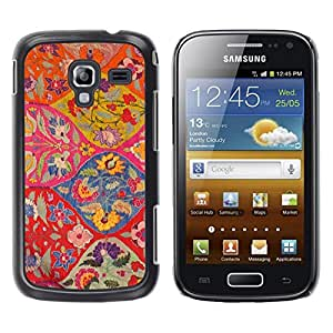 LECELL--Funda protectora / Cubierta / Piel For Samsung Galaxy Ace 2 I8160 Ace II X S7560M -- Floral Pattern Art Ogee Red Colorful --