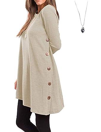 7a10f8d1c4c Aswinfon Tunique Femme Longue Manche Longue Grande Taille Casual Blouse Top  Tee Shirt Haut Longue (