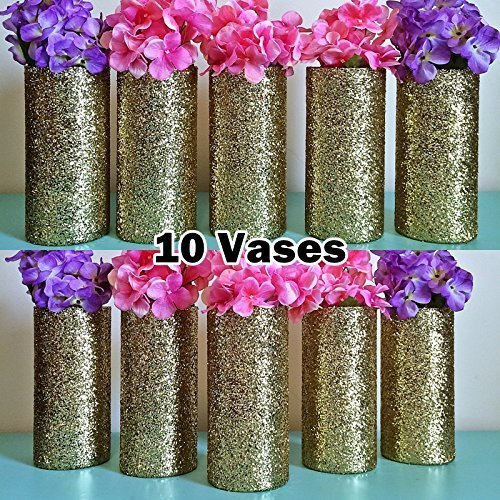 Amazon set of 10 gold glitter glass cylinder vases wedding set of 10 gold glitter glass cylinder vases wedding decorations gold wedding party decorations gold birthday junglespirit Image collections