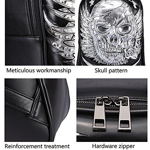 Egoelife PU Leather 3D Skull Backpack Multipurpose Hiking Daypack School Laptop Bag (Gold) by Egoelife (Image #5)