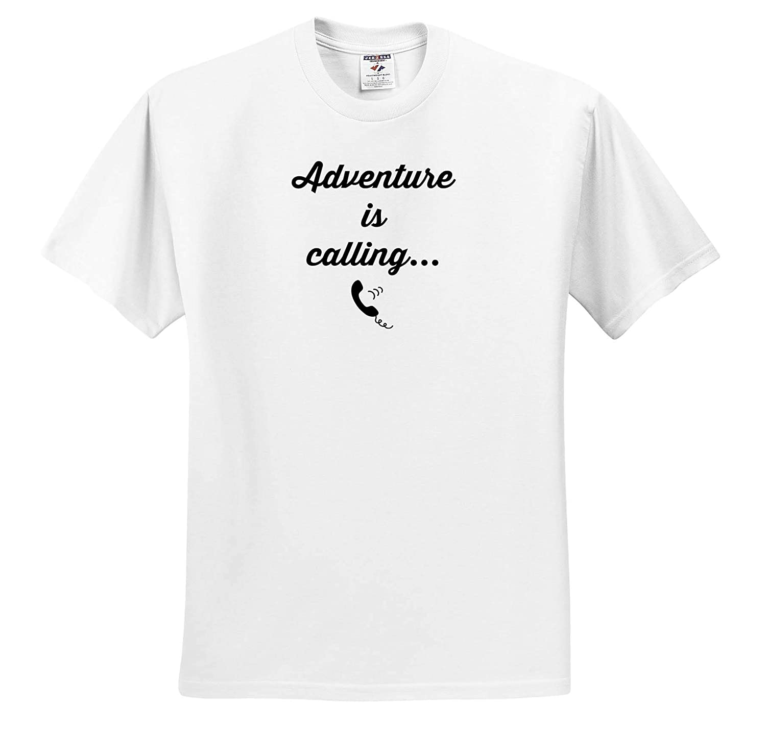 Adult T-Shirt XL 3dRose Gabriella-Quote Image of Adventure is Calling Quote ts/_316927