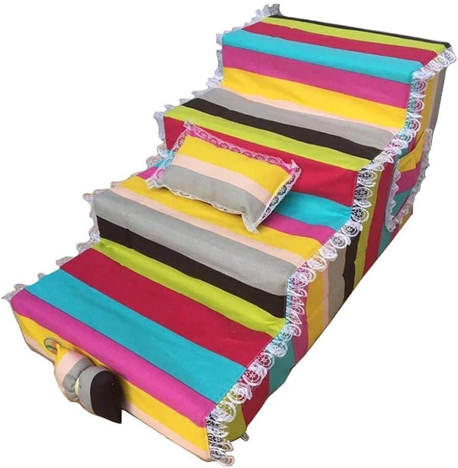 CMDDYY Escalera Antideslizante del Perro De 4 Pasos, 80 × 40 × 40Cm, Conveniente para Animales Domésticos Más Pequeños, Ideales para Los Sofás Y Las Camas Altas, Desprendibles Y Lavables,A