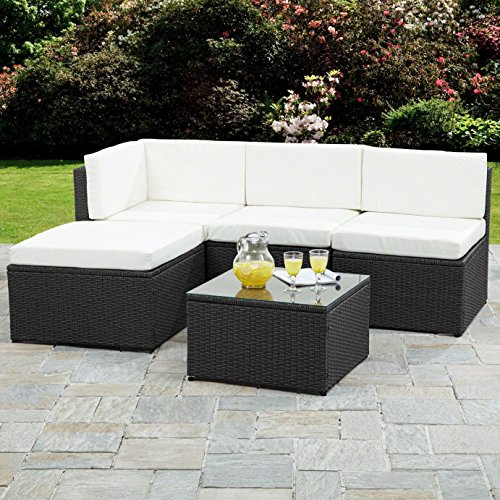 Rattan Corner Sofa Garden Furniture Sets (Black)
