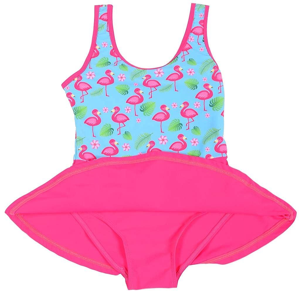One Piece Swimsuit for Girls Flamingo Pleated Princess Dress Swimwear Bathing Suit