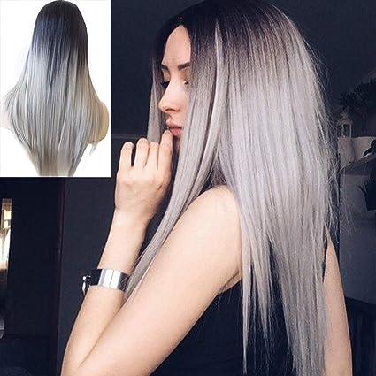 Atayou® capelli sintetici lunghi grigi ombre parrucche con Dark Roots df64f1ef57c3
