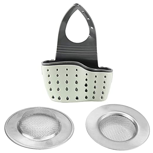 Gudotra 2pcs Filtro de Fregadero de Acero Inoxidable Filtro Fregadero de Cocina + 1pcs Organizador de Fregadero Cocina