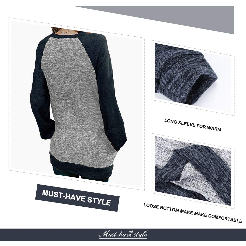 12a5b90cb19 ... Mioloe Women's Casual Tops Fall Raglan Long Sleeve Casual Blouses Flowy Tunic  Shirt Pocket ML180157 ...