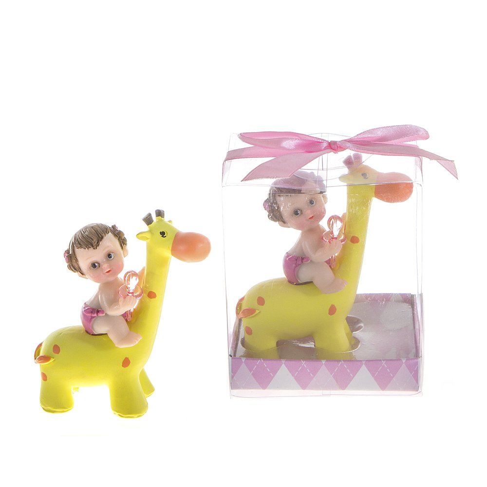 Lunaura Baby Keepsake - Set of 12 ''Girl'' Baby Holding Pacifier Sitting on Giraffe Favors - Pink by Lunaura