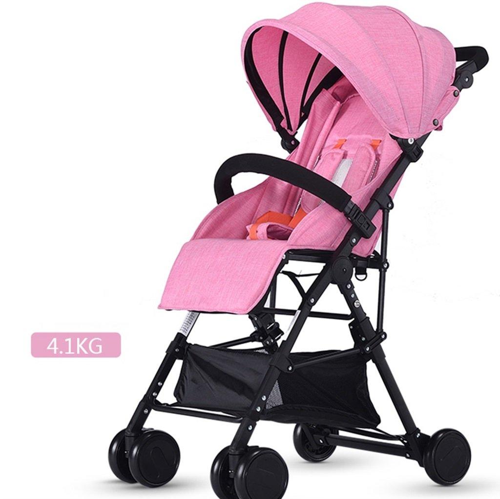 ベビーカート超軽量ポータブルと折りたたみ可能、座って寝ることができる子供用自転車、高地の赤ちゃんベビーカー1ヶ月-4歳のベビー4輪ベビートロリー (色 : ピンク ぴんく) B07DVBCWBS ピンク ぴんく ピンク ぴんく