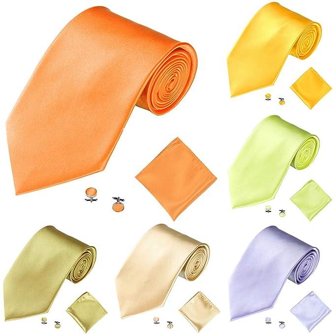 RIsxffp Moda masculina multicolor corbata corbata color sólido ...