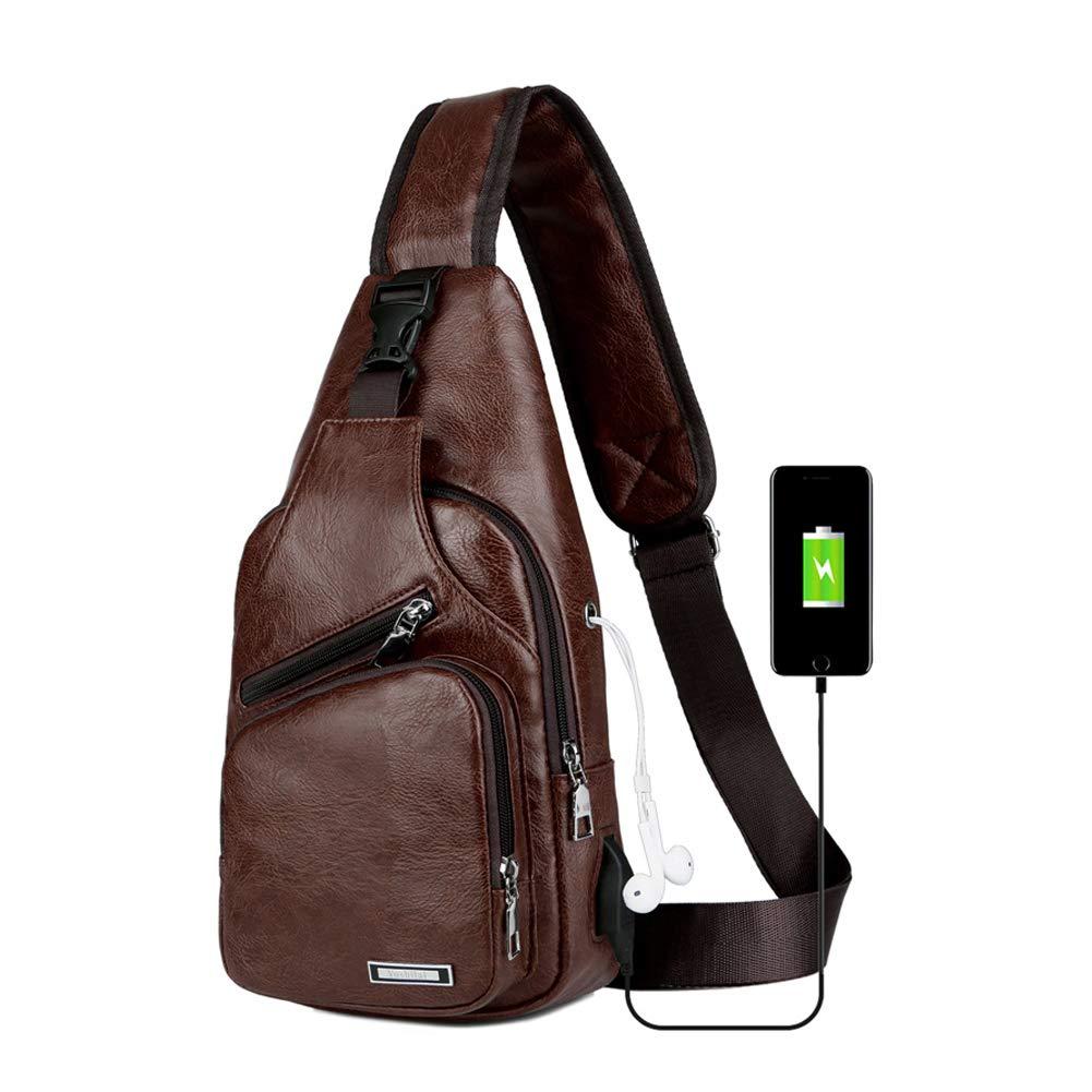 Sling Bag Men Chest Shoulder Backpack Crossbody Bag with USB Charging Port for Women Hiking Cycling Camping Daypacks (drak brown -3)