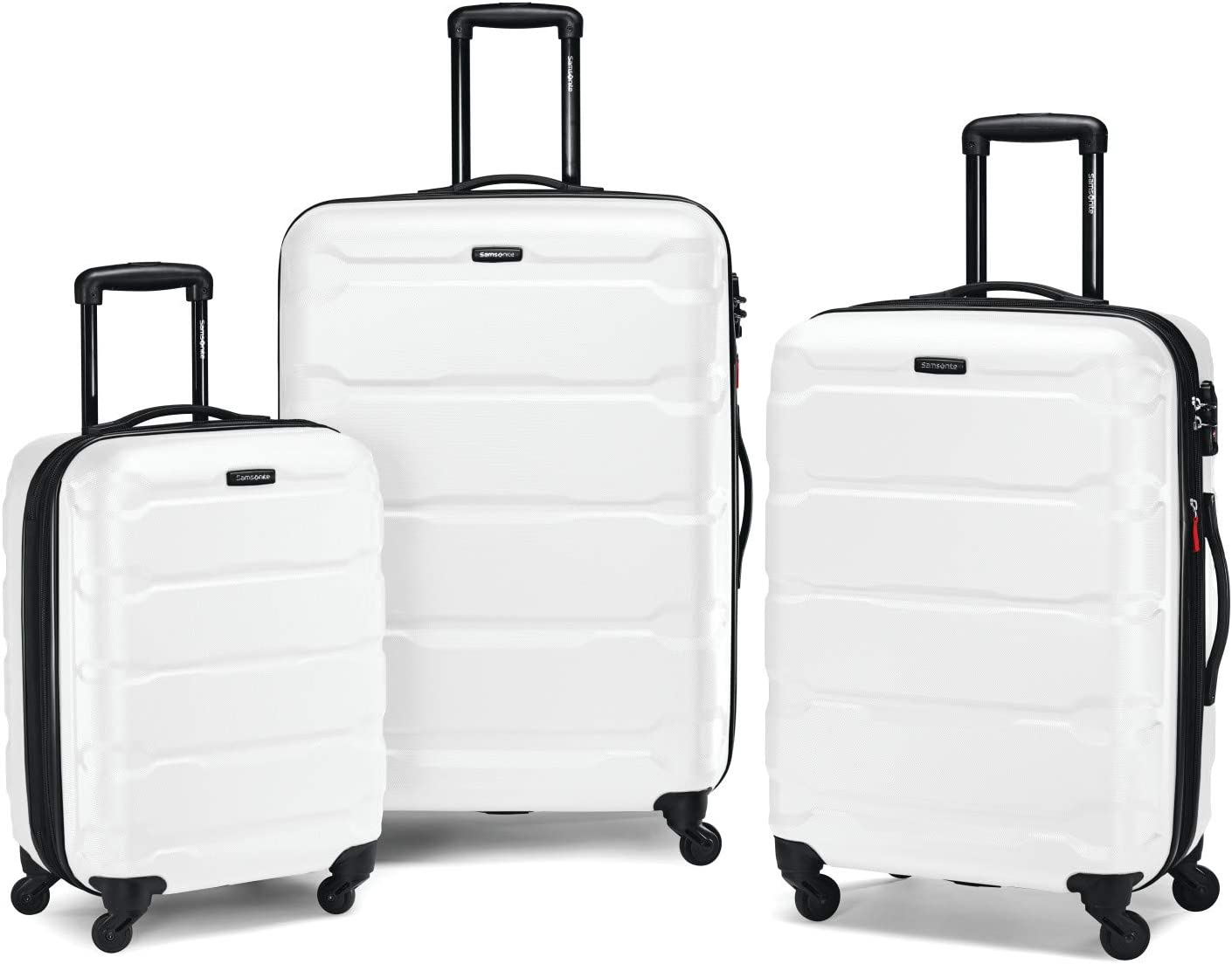 Samsonite Omni PC Hardside Expandable Luggage with Spinner Wheels, White, 3-Piece Set (20/24/28)