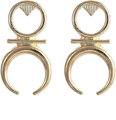 Simple Crescent Moon Earrings Stud Double Horn Shape Earring Dangle Drop Earrings Statement Ear for Women Girls Jewelry Gift