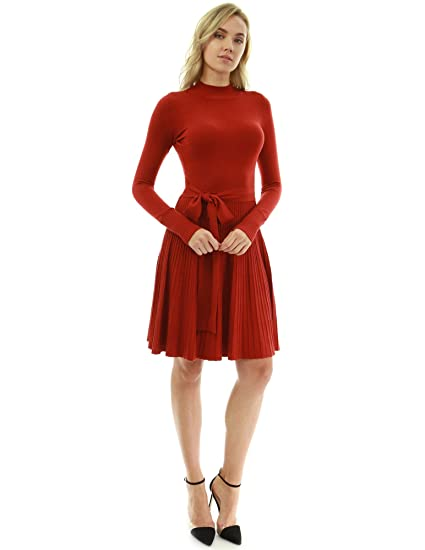 910ea69fc6a PattyBoutik Women Mock Neck Fit-and-Flare Knit Sweater Dress at Amazon  Women s Clothing store