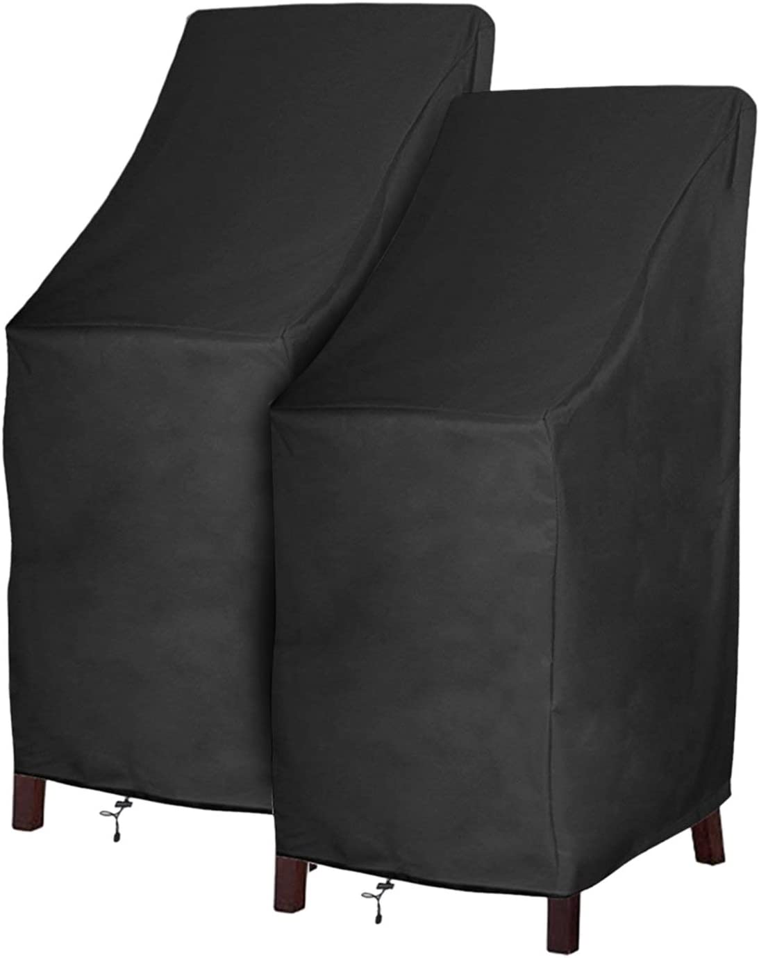 Patio Chair Covers Waterproof Durable Outdoor Bar Stool Cover Premium  Stairs Cover Stackable Chairs Cover Black Thick Oxford Cloth (L10.10 x D10.10  x