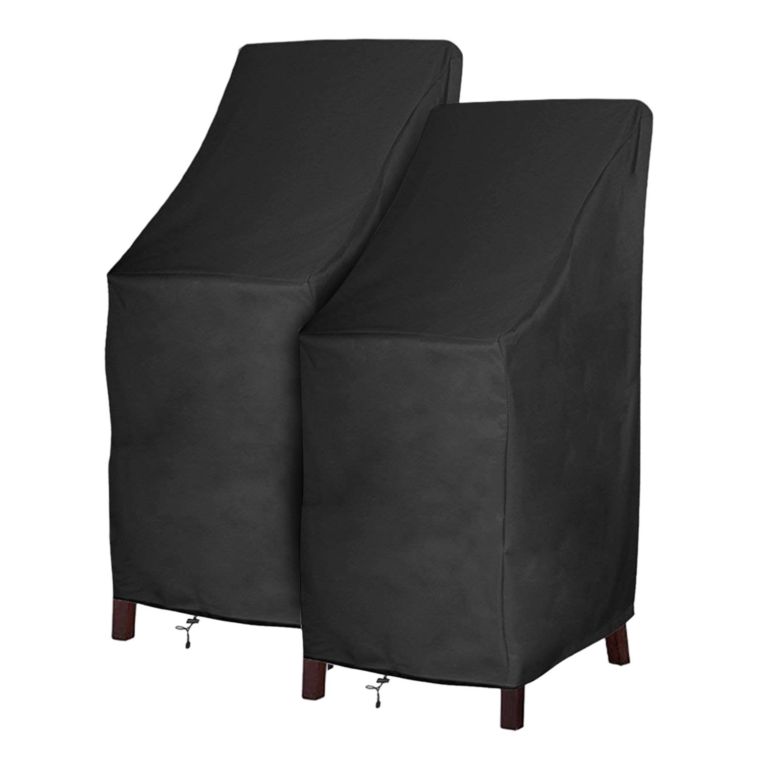 Patio Chair Covers Waterproof Durable Outdoor Bar Stool Cover Premium Stairs Cover Stackable Chairs Cover Black Thick Oxford Cloth L27.5 x D27.5 x H49.2 inch, 2 Pack