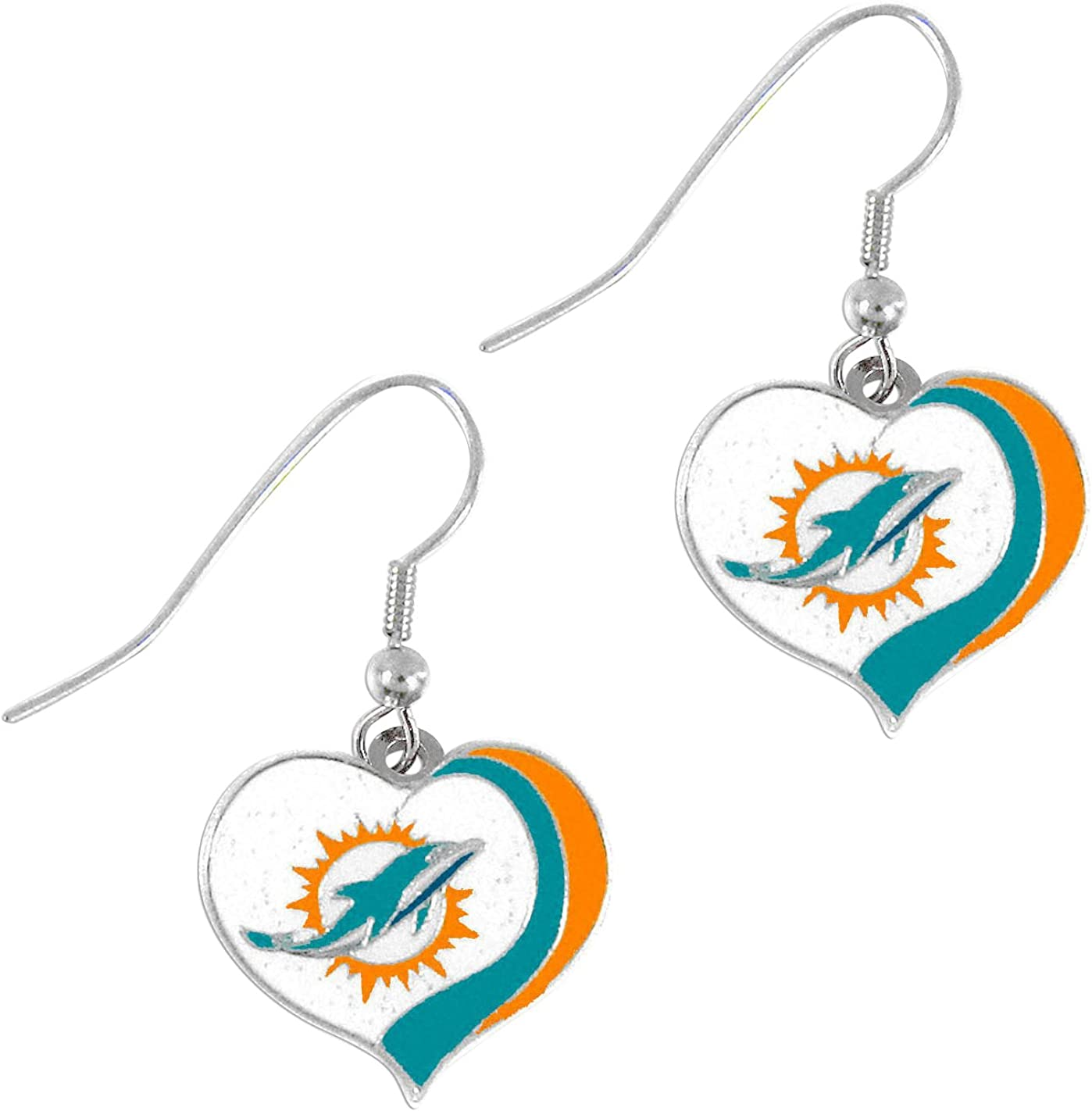 O PSG NFL Miami Dolphins Miami Dolphins Earrings Glitter Heart Teal Small