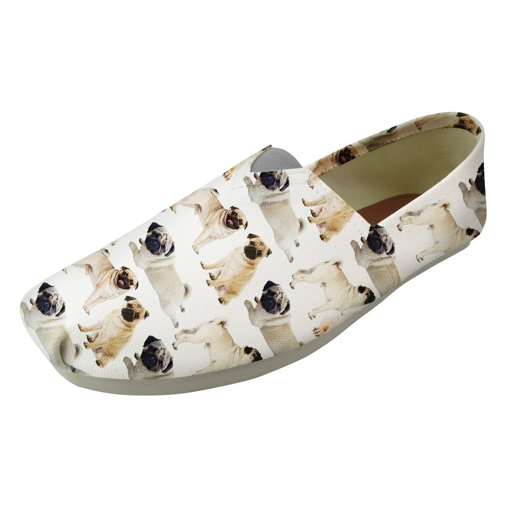 Instantarts Cute Pup Dog Casual Loafer Womens Canvas Slip On Ballet Flat Shoes