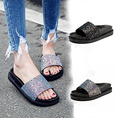 Bout Femmes Sexy Sandales Chaussures Parti Travaille Noir Paillettes Métallisée Simples Confortables Cheville Pointu Mode Pantoufles De Été Plage Electri I1Aqvwpq