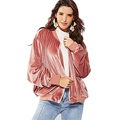 e17173d3e Amazon.com  NOVMAY Women s Bomber Jacket Coat Zip Up Biker Padded ...