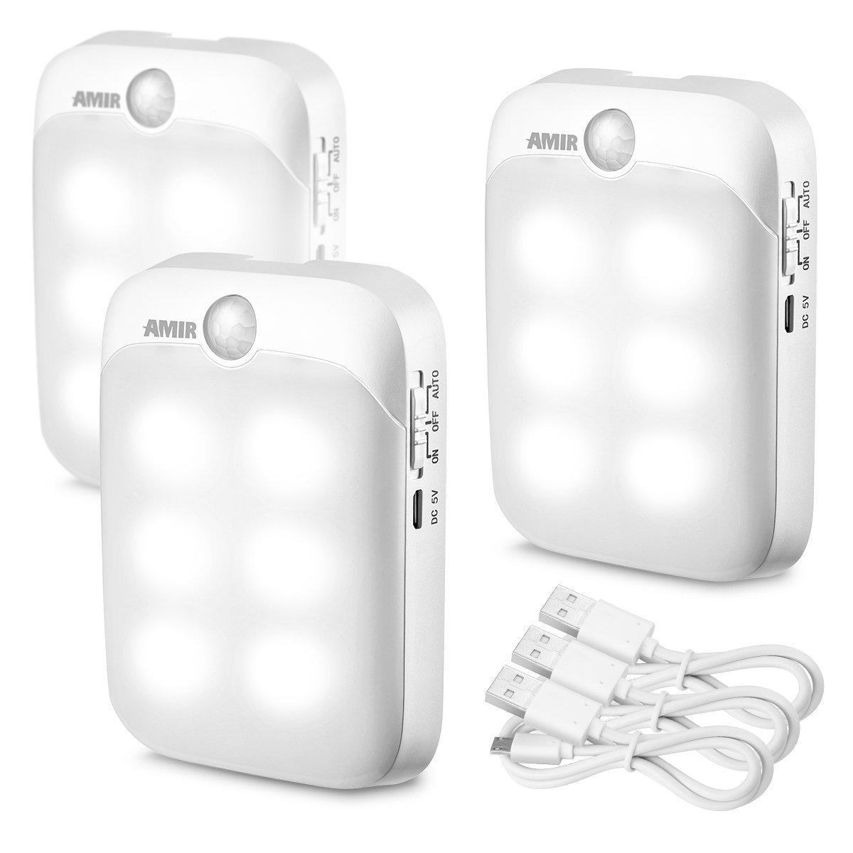 Amirモーションセンサーライト、3スイッチモード、2-ways超簡単インストール、USB充電式LEDナイトライト、セキュリティライト、緊急ライトを廊下 パックof、寝室 B073WQMGJ1、キッチン( Pureホワイト 3 – パックof 3 ) B073WQMGJ1, unique pocket:3d18a0cf --- ijpba.info