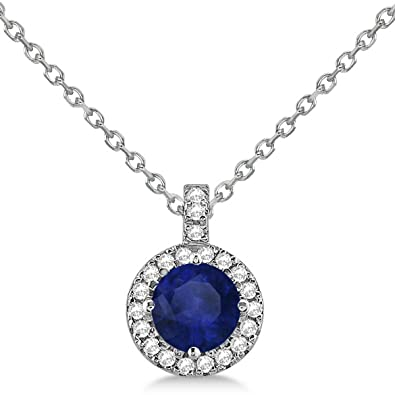 74ee959538e98 Amazon.com: Blue Sapphire and Diamond Halo Pendant Necklace 14k ...