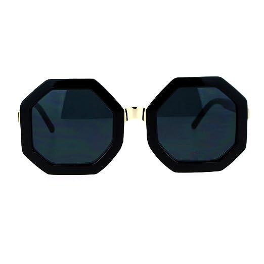 62fb373b019 SA106 Womens Thick Plastic Octagon Retro Designer Sunglasses All Black