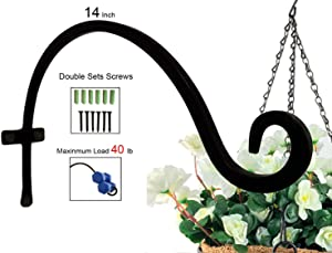 Plant Hooks Hanging Baskets (14 inches-Screws Included) Black Durable Iron Hangers and Rust-Resistant Curved Hooks for Plants Garden Decorative Outdoor Wall Plant Hooks