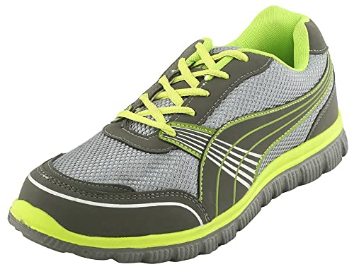 Grey\u0026Green Synthetic Running Shoes