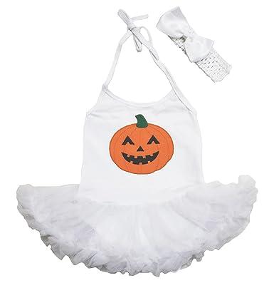 Petitebelle Pumpkin Flower Baby Halter Bodysuit Nb-24m