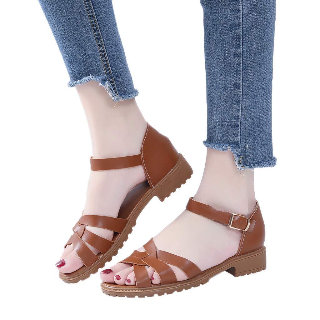Duseedik Summer Women's Water Sandals Roman Flats Belt Buckle Cross Criss Open Toe Beach Shoes Brown