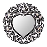 NOVICA Hand Carved Natural Suar Wood Heart Shaped Floral Wall Mirror From Indonesia 'Frangipani Heart'