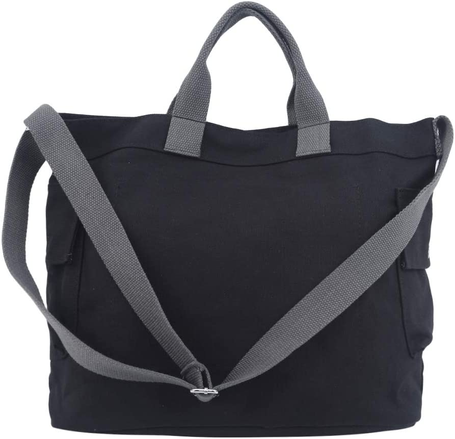 GloryMM Women Canvas Handbags Simple Casual Handle Tote Bag Crossbody Shoulder Bag,black