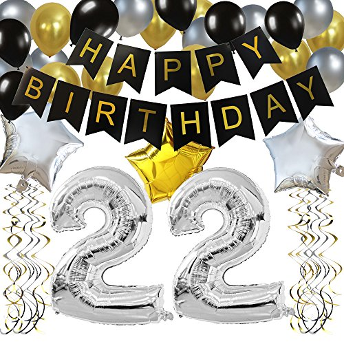 KUNGYO Classy 22ND Birthday Party Decorations Kit-Black Happy Brithday Banner,Silver 22 Mylar Foil Balloon, Star, Latex Balloon,Hanging Swirls, Perfect 22 Years Old Party Supplies -