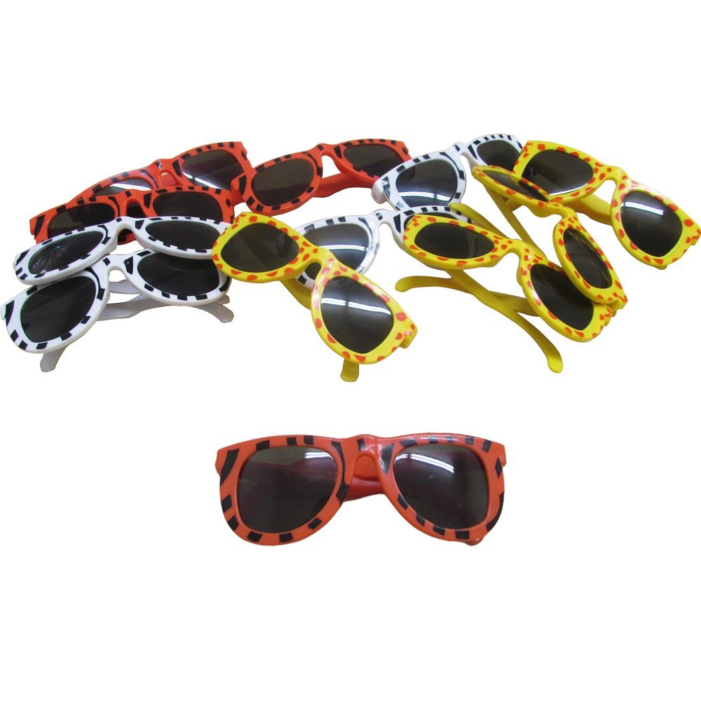 Dazzling Toys Animal Print Sunglasses Assortment - Pack of 24 - Leopard, Tiger and Zebra Styles