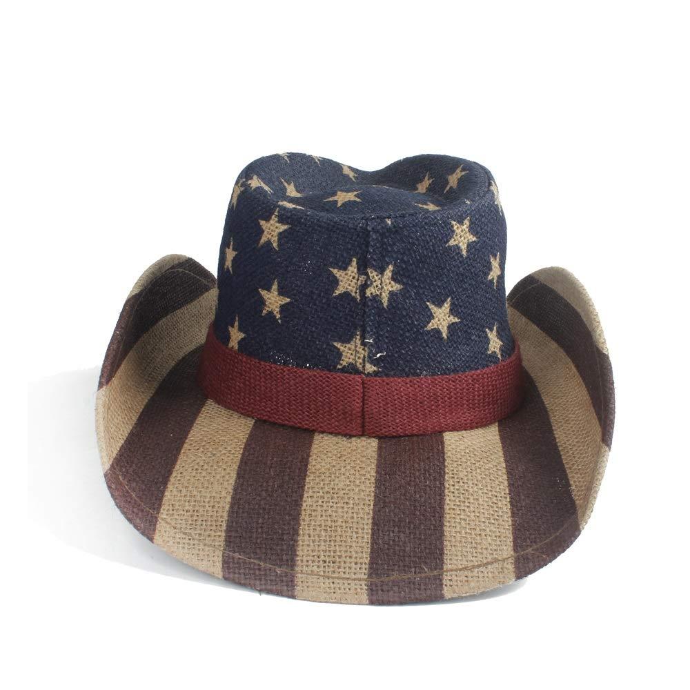 GeorgeB Hats Straw Sun Hat American American Flag Pattern Sunhat Cowboy Male Jazz Cap Size 58cm Hat Cap