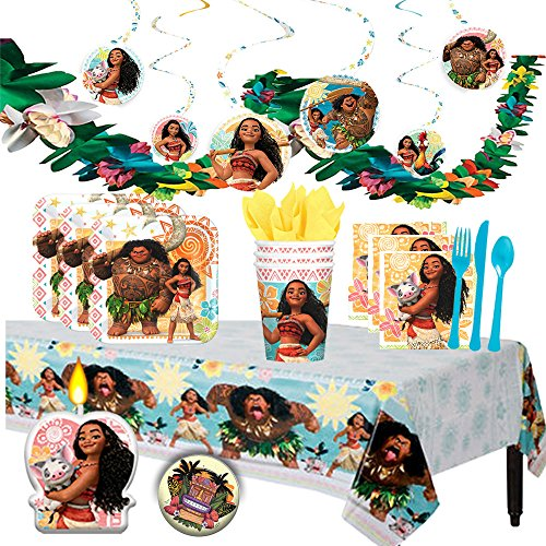 Another Dream Disney Moana Deluxe MEGA Birthday Party Supplies Pack and Decorations for 16 includes Plates, Napkins, Cups, Cutlery, a Table Cover, a Candle, Swirl Decorations, and a Flower Garland