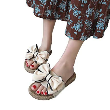 727396aa2 BSGSH Womens Slides, Women's Fashion Wide Band with Twist Knot Bow Decor  Slip On Slide