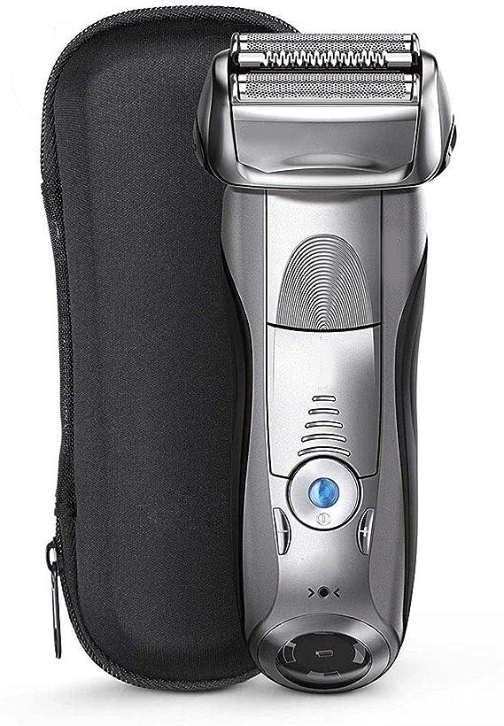 Maquinilla de afeitar eléctrica recargable para hombres, flexible pivotante afeitar impermeable gris de Wet & Dry de precisión sin cable máquina de afeitar con la ...
