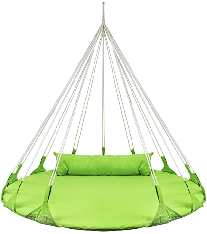 Sorbus Hanging Swing Nest With Pillow Double Hammock Daybed Saucer Style Lounger Swing 264 Pound Capacity For Indoor Outdoor Use Swing Nest