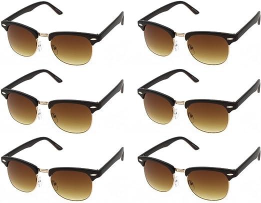 Half Frame Rimmed Black Classic Vintage Sunglasses Unisex Mens Womens Ladies