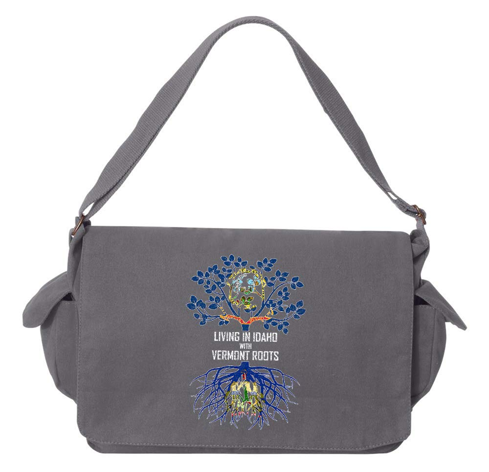 Tenacitee Living In Idaho with Vermont Roots Grey Brushed Canvas Messenger Bag