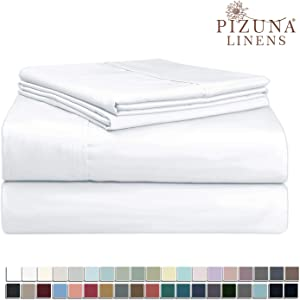 Pizuna 400 Thread Count White Twin XL Sheet Set, 100% Long Staple Cotton Twin XL Sheets, Luxurious Sateen Cotton Bed Sheets Deep Pocket fit Upto 15 inch (Twin XL Sheets White)