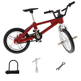 Homyl 1:24 Scale Alloy Finger Bike Toy Mountain Bicycle Diecast Model w/Lock Wrench Desk Gadget Stocking Fillers –Red