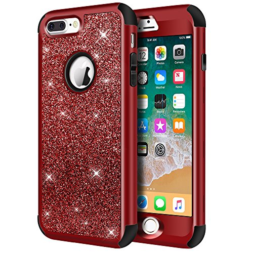iPhone 8 Plus Case, iPhone 7 Plus Case, Hython Heavy Duty Defender Protective Case Bling Glitter Sparkle Hard Shell Armor Hybrid Shockproof Rubber Bumper Cover for iPhone 7 Plus /8 Plus - Red