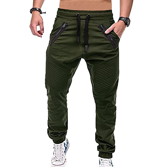 Highdas Herren Hosen Zipper Trainingshose Jogginghose Sporthose mit  Seitentaschen Cargo Hosen Plissierte Hose Fitness-Hosen  Amazon.de   Bekleidung df7a875470
