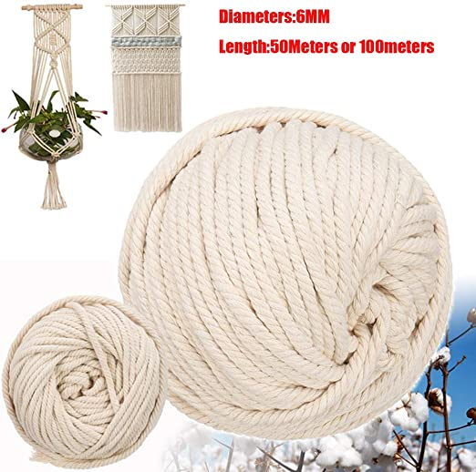 Cuerda de macramé de 6 mm hecha a mano de algodón natural para ...