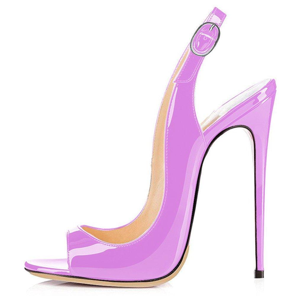 Light Purple UMEXI Open Toe Slingbacks Ankle Strap High Heels Stiletto Pumps Wedding Party shoes for Women