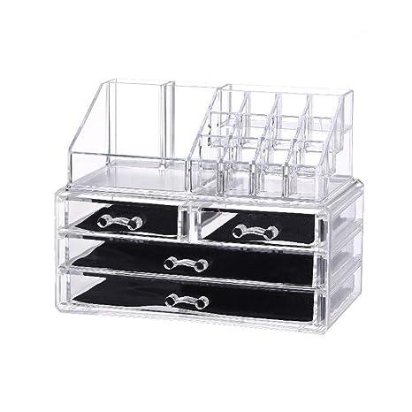 Organizador de cosméticos y joyas con 4 cajones caja transparente de acrílica para guardar maquillaje y